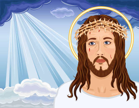 Christ is Risen - portrait of Jesus Christ bringing salvation to humanity.  Vector
