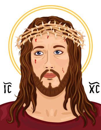 Religiöse Ikonographie - Porträt von Jesus Christus trug die Dornenkrone. Mit griechischen heiligen Christogramm, über weißem Hintergrund.