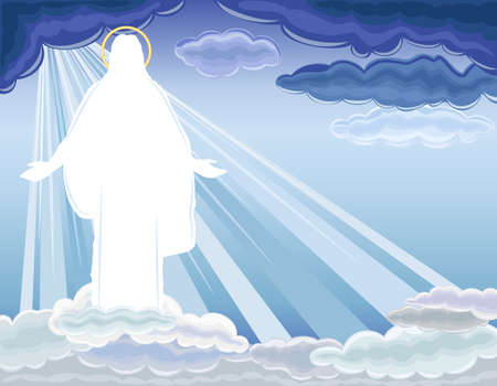 risen: Christ is Risen - The Resurrection of Jesus Christ bringing salvation to humanity.  Illustration