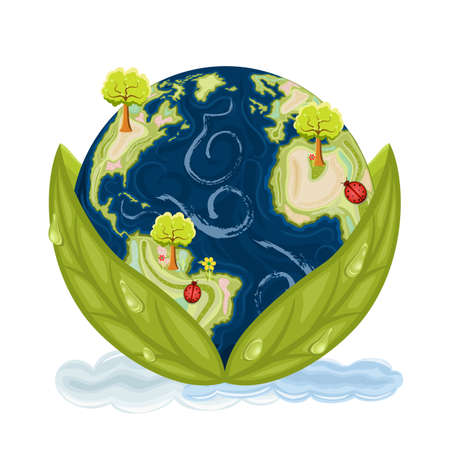 Our planet Earth inside green leaves with drops of water. Preservation of Nature. Isolated over white background.