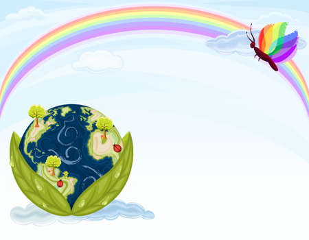 Green Earth - preserving our beautiful Nature. Planet Earth inside green leaves with blue sky and rainbow.