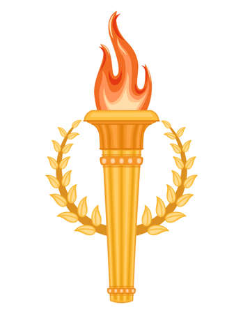 Greek Olympic Torch with golden crown of laurels. Olympics games symbol. Isolated over white background