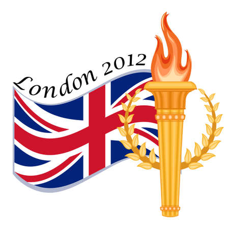 London 2012 sports games with golden torch and crown of laurels. Isolated over white background.