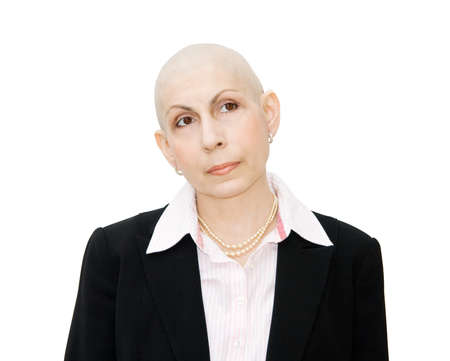 Chemotherapy - portrait of bald woman cancer patient, looking sideways. Real woman, diagnosed with ovarian and breast cancer. Isolated over white background.