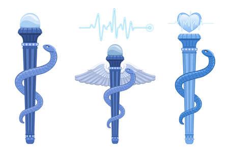 aesculapius: El Asklepian - Vara de Esculapio y el caduceo de Hermes - antiguo símbolo médico griego. El uso correcto de la medicina es la Asklepian, las alas y sólo hay una serpiente. Vectores