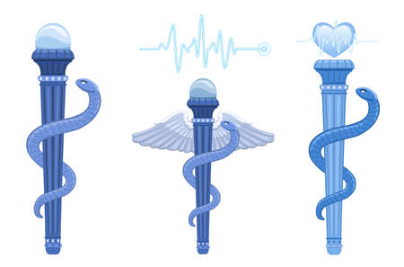rod sign: The Asklepian - Rod of Asclepius and Hermes Caduceus - ancient Greek medical symbol. The correct use for medicine is The Asklepian, no wings and only one snake.