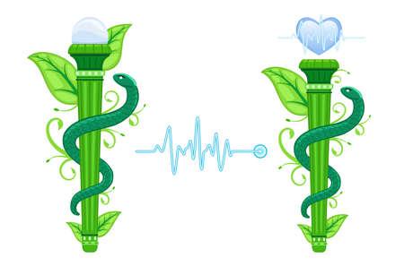 The Green Asklepian - alternatieve, natuurgeneeskundige, homeopathische geneeskunde. Set van twee, met ECG-hartgrafiek. Vector Illustratie