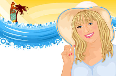 Summer fun - surfing holiday at the beach with beautiful girl. Isolated over white background.  Vector