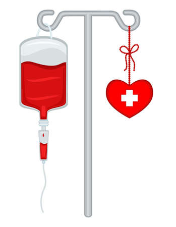 Blood donation with bag, drip holder and healthy heart  Save lives