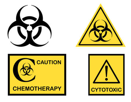 Biohazard, Cytotoxic and Chemotherapy symbols icons  Illustration