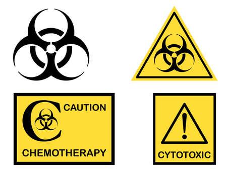 Biohazard, Cytotoxic and Chemotherapy symbols icons  Vectores