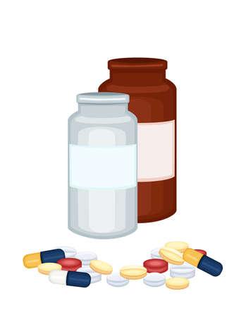 Prescription medicine bottles and tablets   Stock Vector - 14827587