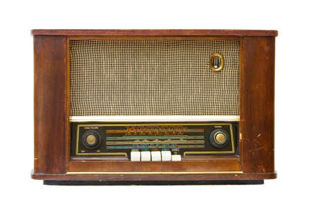 Vintage old radio transistor. Isolated over white background.  photo