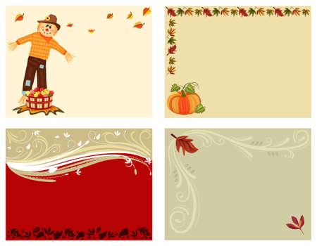 autumn scarecrow: Autumn set of 4 cards