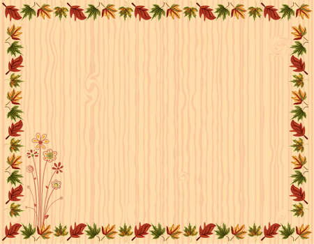 Autumn greeting card with leaves border and floral design Stock Vector - 15364916