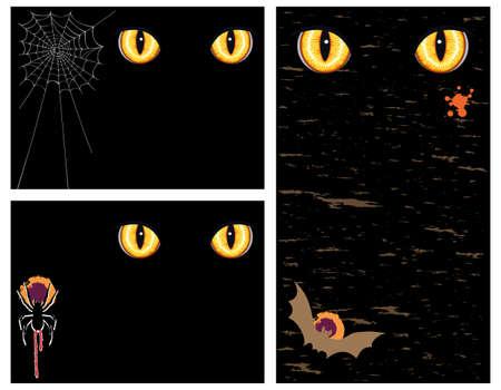 b�se augen: Halloween-Gru�-Karten und Banner mit b�sen Augen - drei Vektor-Illustration gesetzt Illustration