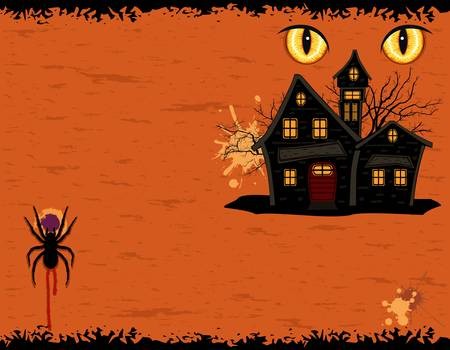 b�se augen: Grungy Halloween-Gru�karte mit Evil Eyes and Ghosts Mansion