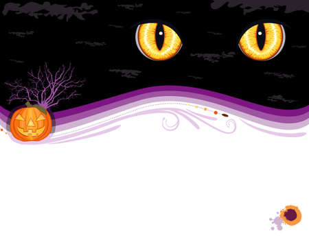 Grungy Halloween greeting card with cute pumpkin and Evil Eyes. Vectores