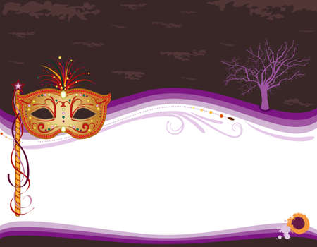 mardi: Halloween carnival party invitation banner with golden mask, no effects, easy print and edit.