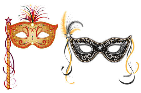 carnival costume: Party masquerade masks - set of two, gold and silver. Isolated over white background.  Illustration