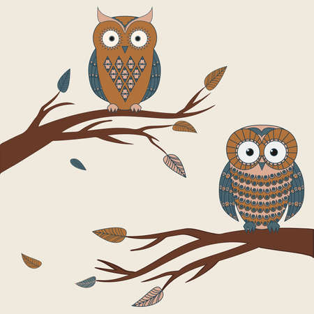 Vector illustration of two cute colorful owls sitting on a branch Vector