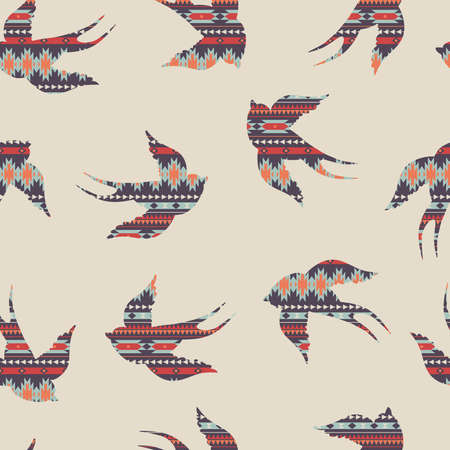 ikat: Vector seamless colorful decorative ethnic pattern with swallows