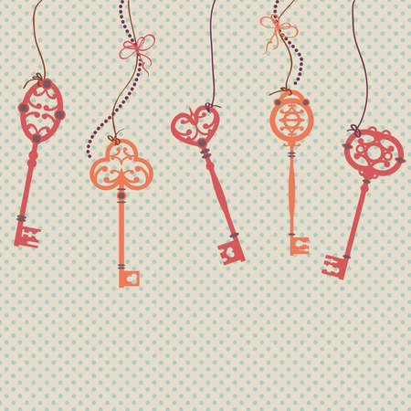 Vector illustration with vintage keys, bows and beads Vector