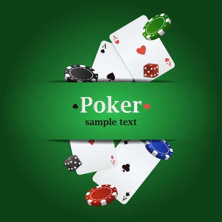 double the chances: Vector poker background with playing cards, chips and dices Illustration