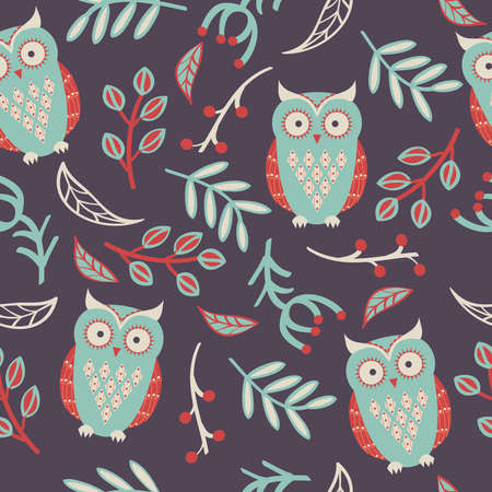 Vector seamless pattern with cute owls, leaves Vector