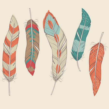 Vector colorful set of different feathers Stock Illustratie