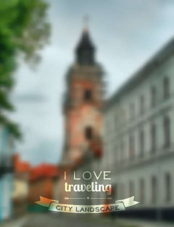 unfocused: Vector blurred traveling city background  Web and mobile interface template  Illustration