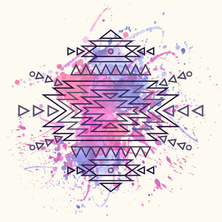 Vector decorative ethnic pattern with watercolor splash Vector