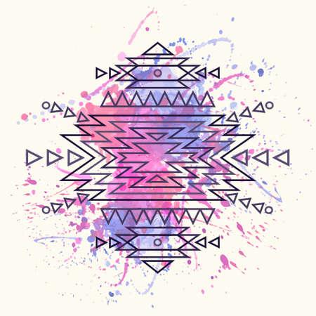 Vector decorative ethnic pattern with watercolor splash