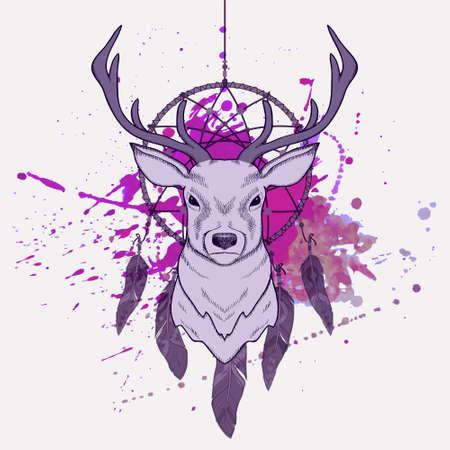 atrapasueños: Ilustración vectorial con ciervos, cazador de sueños y salpicaduras de acuarela Vectores