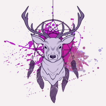 catcher: Vector illustration with deer, dream catcher and watercolor splash Illustration