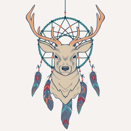 dreamcatcher: Ilustraci�n vectorial con ciervos y cazador de sue�os Vectores