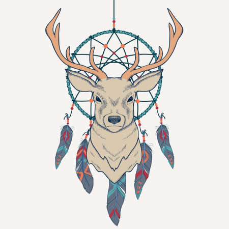 cherokee indian: Vector illustration with deer and dream catcher