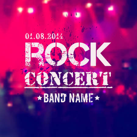 Vector blurred background with rock stage and crowd  Rock concert design template with watercolor splatter and place for text