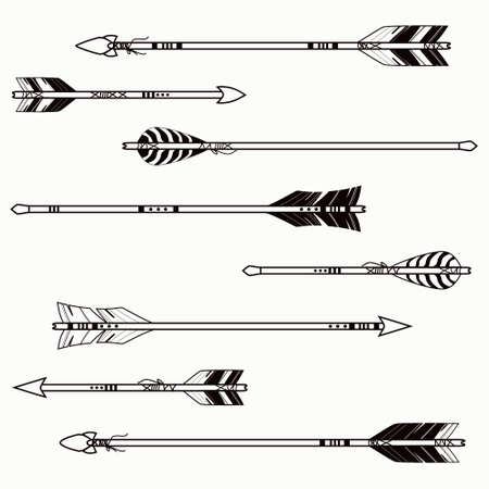 feathers: Vector set of ethnic arrows
