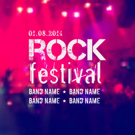 music dj: Vector blurred background with rock stage and crowd. Rock festival design template with place for text.