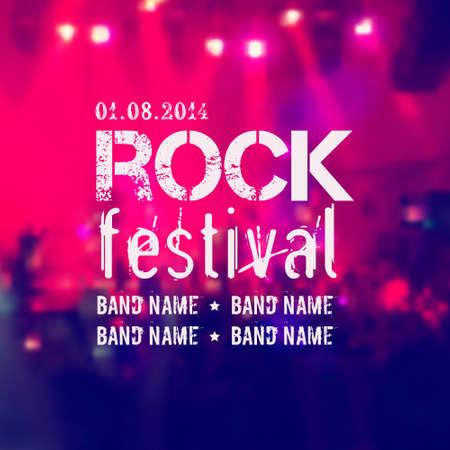 Vector fondo borroso con escenario de rock y multitud. Festival de Rock de plantilla de diseño con lugar para el texto. Ilustración de vector