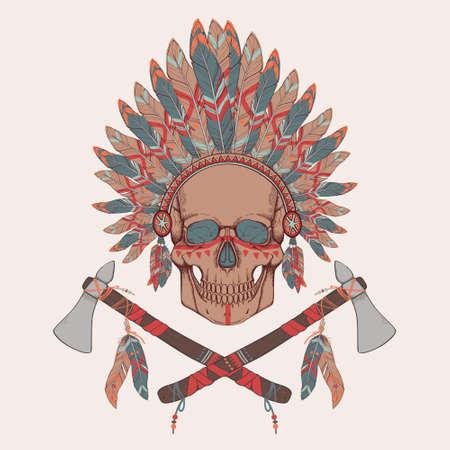 indian chief headdress: Illustrazione vettoriale del cranio umano in nativo americano copricapo capo indiano, tomahawks