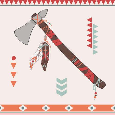 native american tomahawk: Vector illustration of native American indian tomahawk