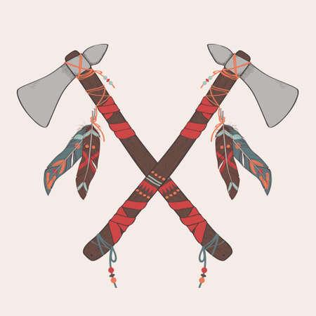 Vector illustration of native American indian tomahawks Stock Illustratie