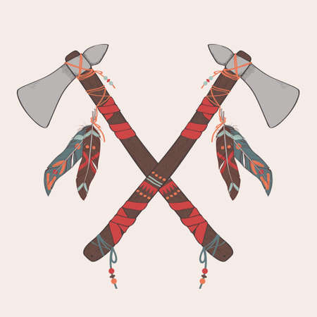 Vector illustration of native American indian tomahawks Illusztráció
