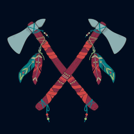 cherokee: Vector illustration of native American indian tomahawks Illustration