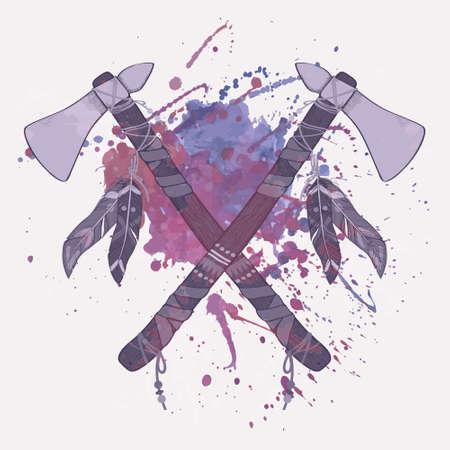 native american tomahawk: Vector grunge illustration of native American indian tomahawks with watercolor splash