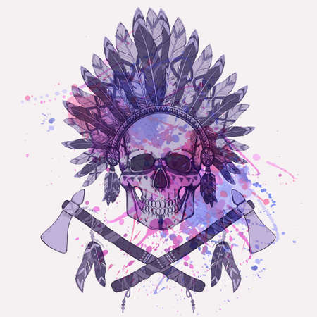 Vector grunge illustration of human skull in native american indian chief headdress, tomahawks with watercolor splash Vector