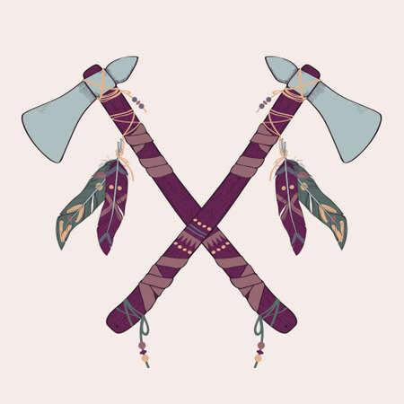 native american tomahawk: Vector illustration of native American indian tomahawks Illustration