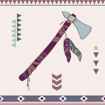 cherokee: Vector illustration of native American indian tomahawk